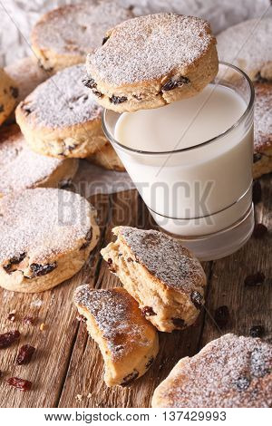 Delicious Welsh Cakes With Raisins And Milk Close-up. Vertical