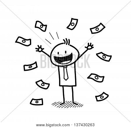 Rich and Wealthy Businessman Doodle, a hand drawn vector doodle illustration of a wealthy businessman with money around him.