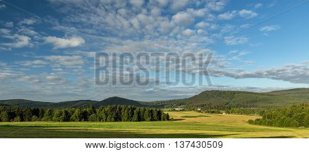 View on Sumava mountain on summer cloudy day in the in Sumava South Bohemia. Czech Republic