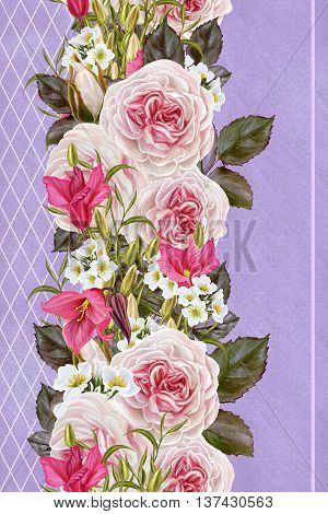 Vertical floral border. Pattern seamless. Flower garland of roses and camellias roses pastel white anemones cyclamen purple.