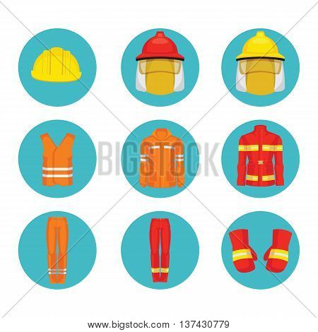 Vector illustration of protective wear and yellow safety helmet icon.