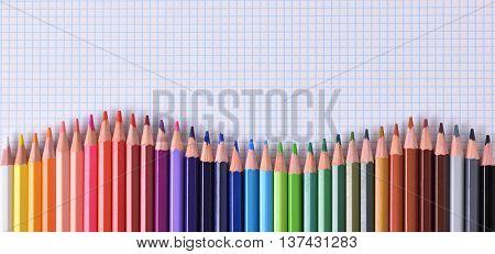 Colored Pencils Aligned Waveform Palette On Checkered Sheet