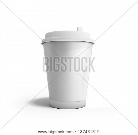 Realistic Paper Coffee Cup 3D Render On White