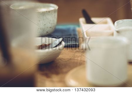 Candid shots of crockery used for eating and drinking.