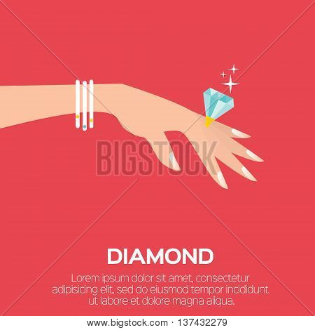 Wedding Ring with a big shining diamond on graceful women's hand. Wedding concept. Marriage proposal. Design vector illustration.