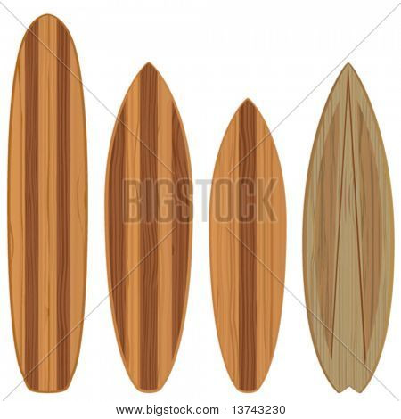 wooden surfboards (high quality illustration)