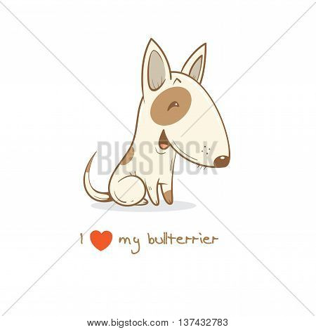 Card with cute cartoon dog breed  bullterrier. Children's illustration. Little puppy. Funny baby animal. Vector image.
