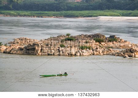 Fishing Boats in Mekong river at Loei province, Thailand.