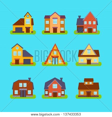 Suburban Real Estate Houses Collection In Simple Realistic Cartoon Flat Vector Design Isolated On Blue Background