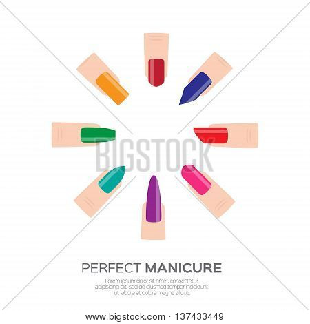 Different colorful nail shapes icons. Woman fingers. Fingernails fashion trends. Types of fashion nail shapes. Vector design illustration on pastel background