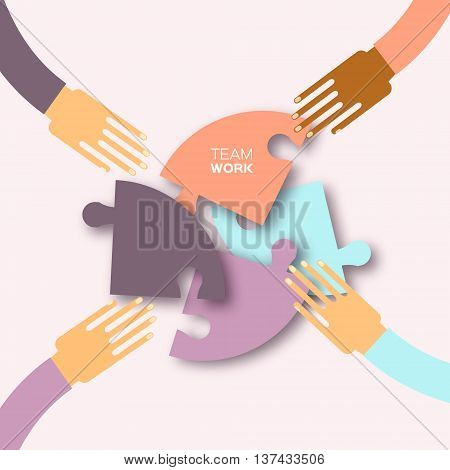 Four hands together team work. 4 Hands putting circle puzzle pieces. Teamwork and business concept. Hands of different colors cultural and ethnic diversity. Vector illustration