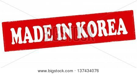 Rubber stamp with text made in Korea inside vector illustration