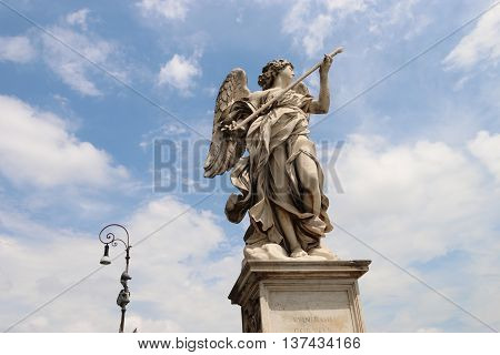angel statue of the Ancient bridge on Tiber river