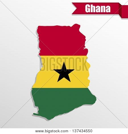 Ghana map with flag inside and ribbon
