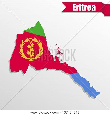 Eritrea map with flag inside and ribbon