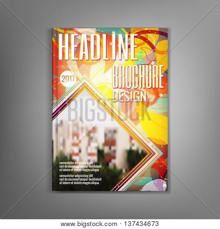 Design magazine cover template with sunny petals, flyers, leaflets, presentation covers, the annual report. Modern dynamic design. Vector illustration.