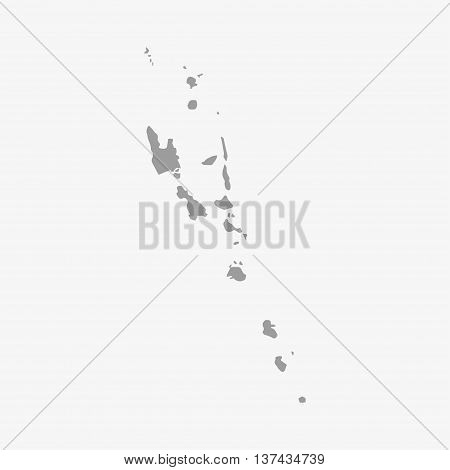 Vanuatu map in gray on a white background