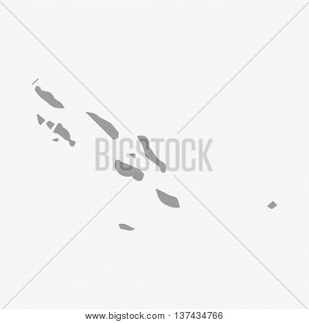 Solomon Islands map in gray on a white background