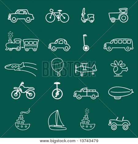 transportation symbols (chalkboard style)