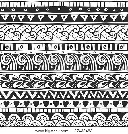 Seamless ornament from the semi-circles and floral elements in ethnic style black and white