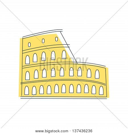 Coliseum Building In Rome Light Color Flat Cute Illustration In Simplified Outlined Vector Design