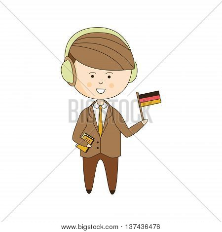 German Tourist With Audio Guide Light Color Flat Cute Illustration In Simplified Outlined Vector Design