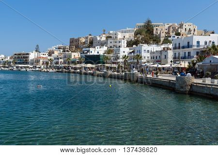 Embankment of Chora town, Naxos Island, Cyclades, Greece