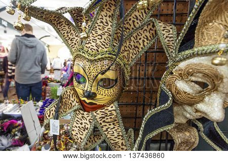 NEW ORLEANS LA USA - APR 16 2016: Mardi Gras mask for sale at the French Market in New Orleans. Louisiana United States