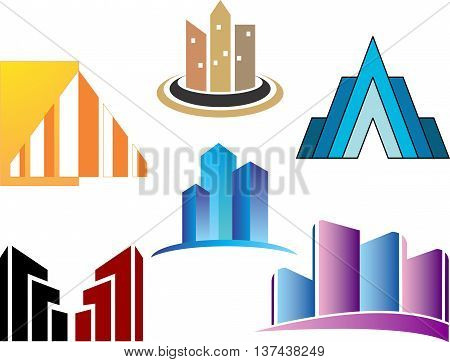 stock logo icon skyscrapers abstract architecture illustration