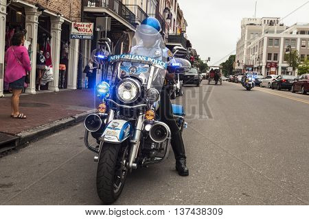 NEW ORLEANS LA USA - APR 16 2016: Blue motorcycle of the New Orleans Police Department. Louisiana United States