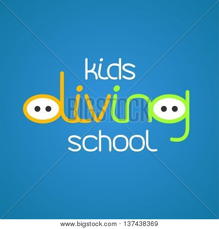 Kids diving and snorkeling vector logo icon symbol emblem sign design element. Summer diving illustration