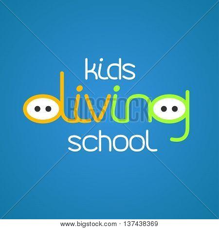 Kids diving and snorkeling vector logo icon symbol emblem sign design element. Summer diving illustration