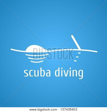 Diving and snorkeling vector logo icon symbol emblem sign design element. Scuba diving illustration