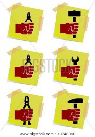 holding tool on note paper vector