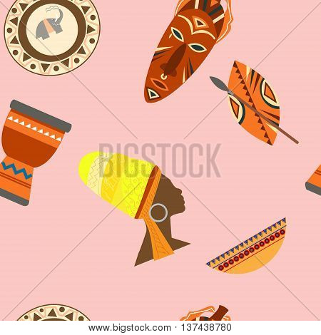 Africa Safari set vector icons. Ritual objects and traditional peoples of Africa vector illustration seamless pattern