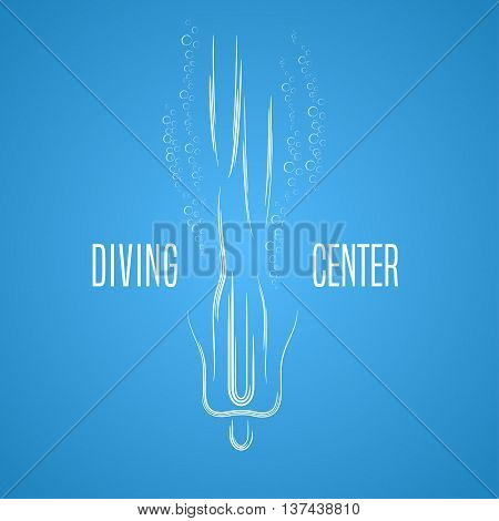 Diving and snorkeling vector logo icon symbol emblem sign design element. Swimming and diving illustration