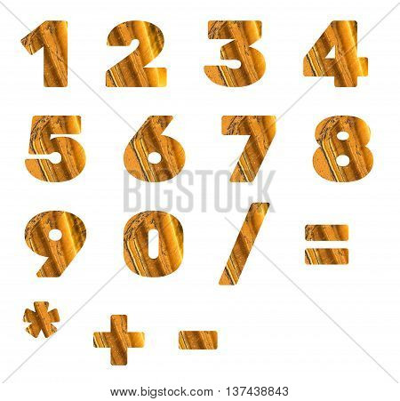 Numbers and arithmetic signs made from mineral tiger eye isolated on white background.