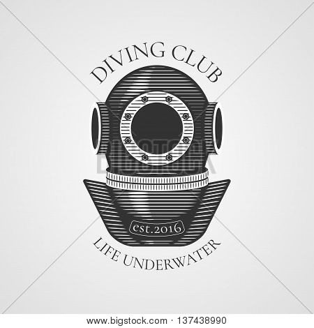 Diving and snorkeling vector logo icon symbol emblem sign design element. Retro vintage diving suit illustration
