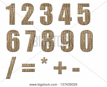 Numbers and arithmetic signs made from palm bark isolated on white background.