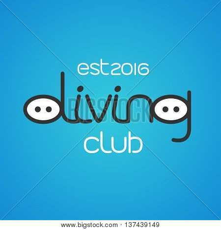 Diving and snorkeling vector logo icon symbol emblem sign design element. Deep diving concept illustration