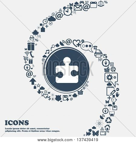Puzzle Piece Icon Sign In The Center. Around The Many Beautiful Symbols Twisted In A Spiral. You Can