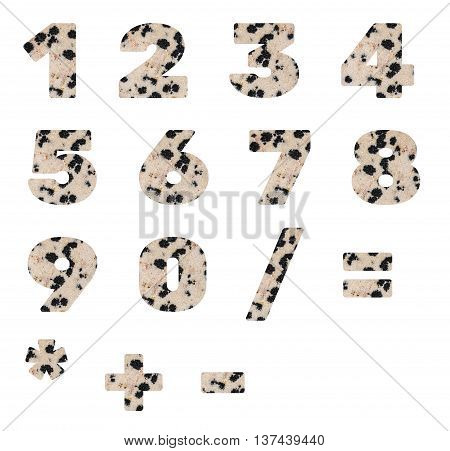 Numbers and arithmetic signs made from mineral porphyry isolated on white background.
