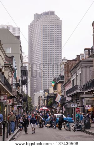 NEW ORLEANS LA USA - APR 16 2016: Street in the old French Quarter in the city of New Orleans. Louisiana United States
