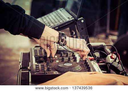 dj equipment and hands, dj  mixer, party electronic