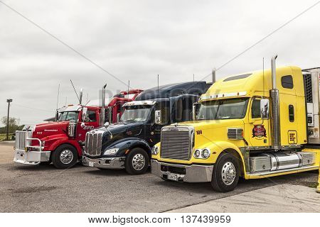 NEW ORLEANS LA USA - APR 17 2016: Freightliner Peterbilt and Western Star trucks at the parking lot in Louisiana United States