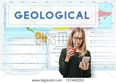 Continents Coordinates Exploration Geological Cartography Concept
