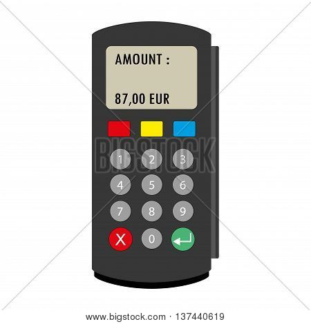 Flat concept POS terminal. Vector illustration isolated on white background