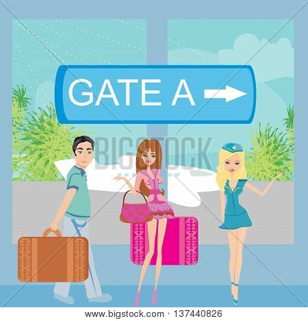Travelers couple at the airport , vector illustration