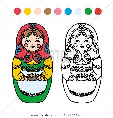 children's coloring. Russian dolls - matryoshka. Vector illustration