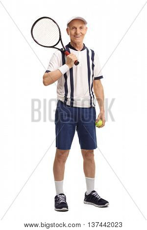 Full length portrait of a senior tennis player holding a racquet and a ball isolated on white background